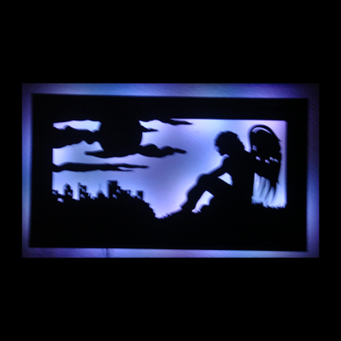Guardian Angel Framed LED Metal Wall Sculpture - Metalhead Art & Design, LLC