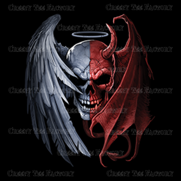 HEAVEN AND HELL SKULL - Metalhead Art & Design, LLC