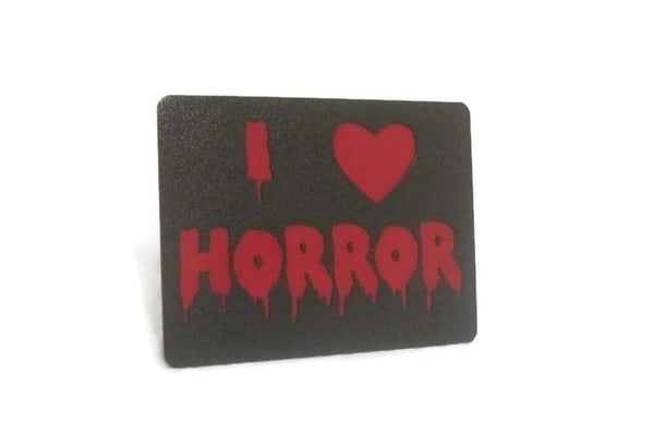 I Love Horror Double Layered Steel Trailer Hitch Cover - Metalhead Art & Design, LLC