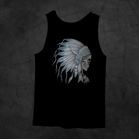 INDIAN CHIEF SKULL TANK TOP - Metalhead Art & Design, LLC