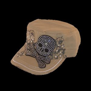 Jolly Roger Rhinstone Adjustable Hat - Metalhead Art & Design, LLC