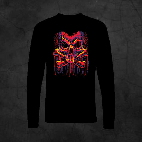 MELTING CROSSBONES - LONG SLEEVE - Metalhead Art & Design, LLC