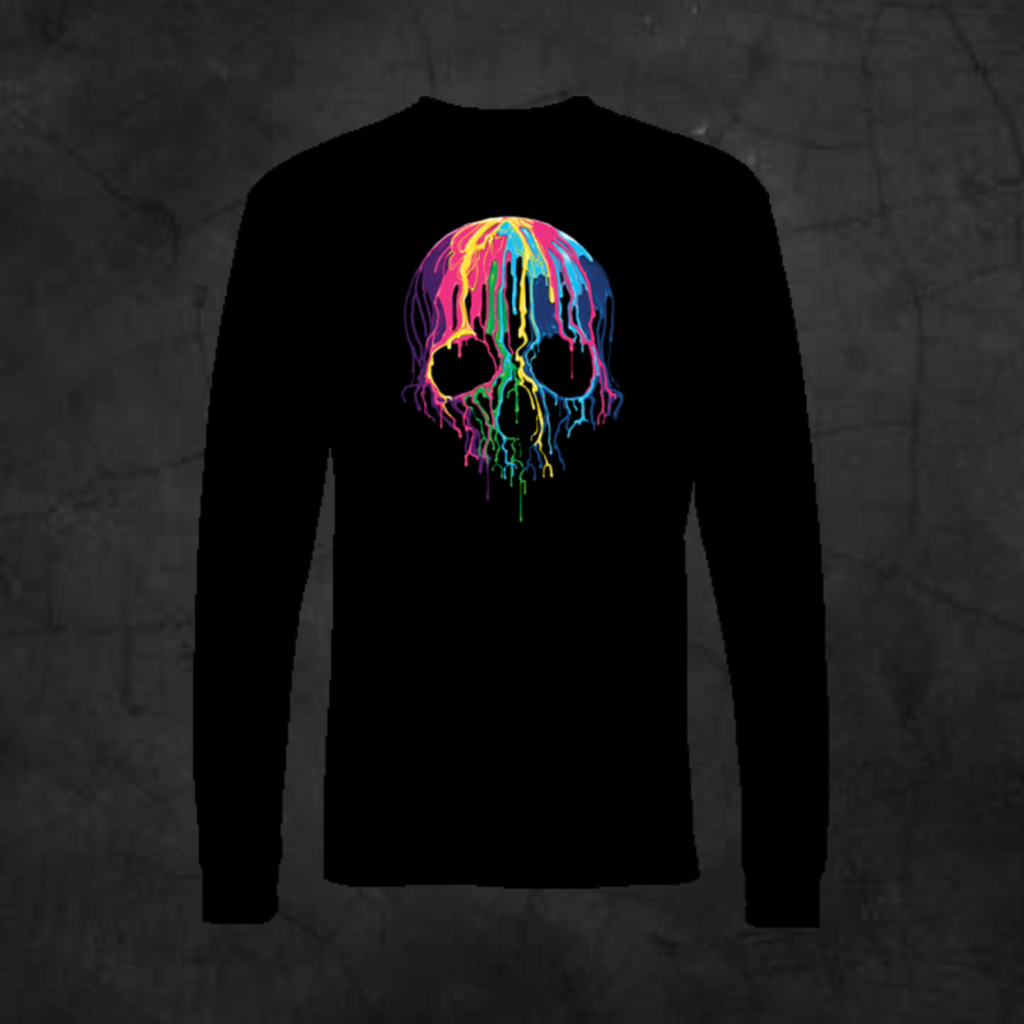 MELTING SKULL - LONG SLEEVE - Metalhead Art & Design, LLC
