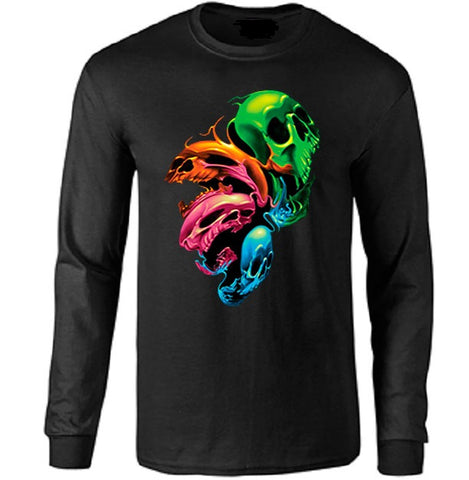 Neon Distorted Skulls Long Sleeve T-shirt - Metalhead Art & Design, LLC