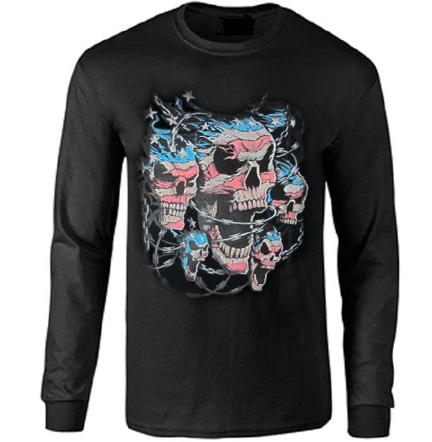 Patriotic Skulls With Razor Wire Long Sleeve T-shirt - Metalhead Art & Design, LLC