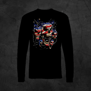 PATRIOTIC SKULLS - LONG SLEEVE - Metalhead Art & Design, LLC