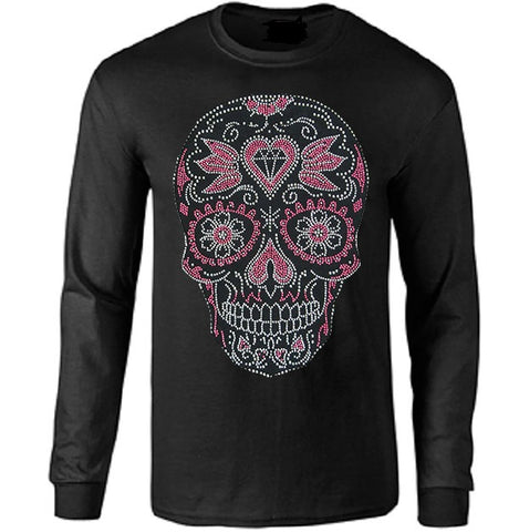 Pink Crystal Metal Chip Skull Long Sleeve T-shirt - Metalhead Art & Design, LLC