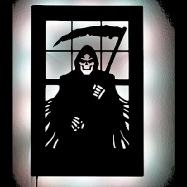 Reaper With Sickle LED Haunting Metal Wall Sculpture - Metalhead Art & Design, LLC