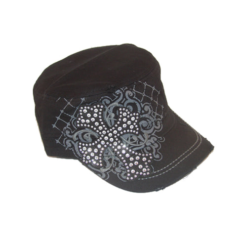 Gothic Rhinestone Cross Hat with Adjustable Back - Metalhead Art & Design, LLC