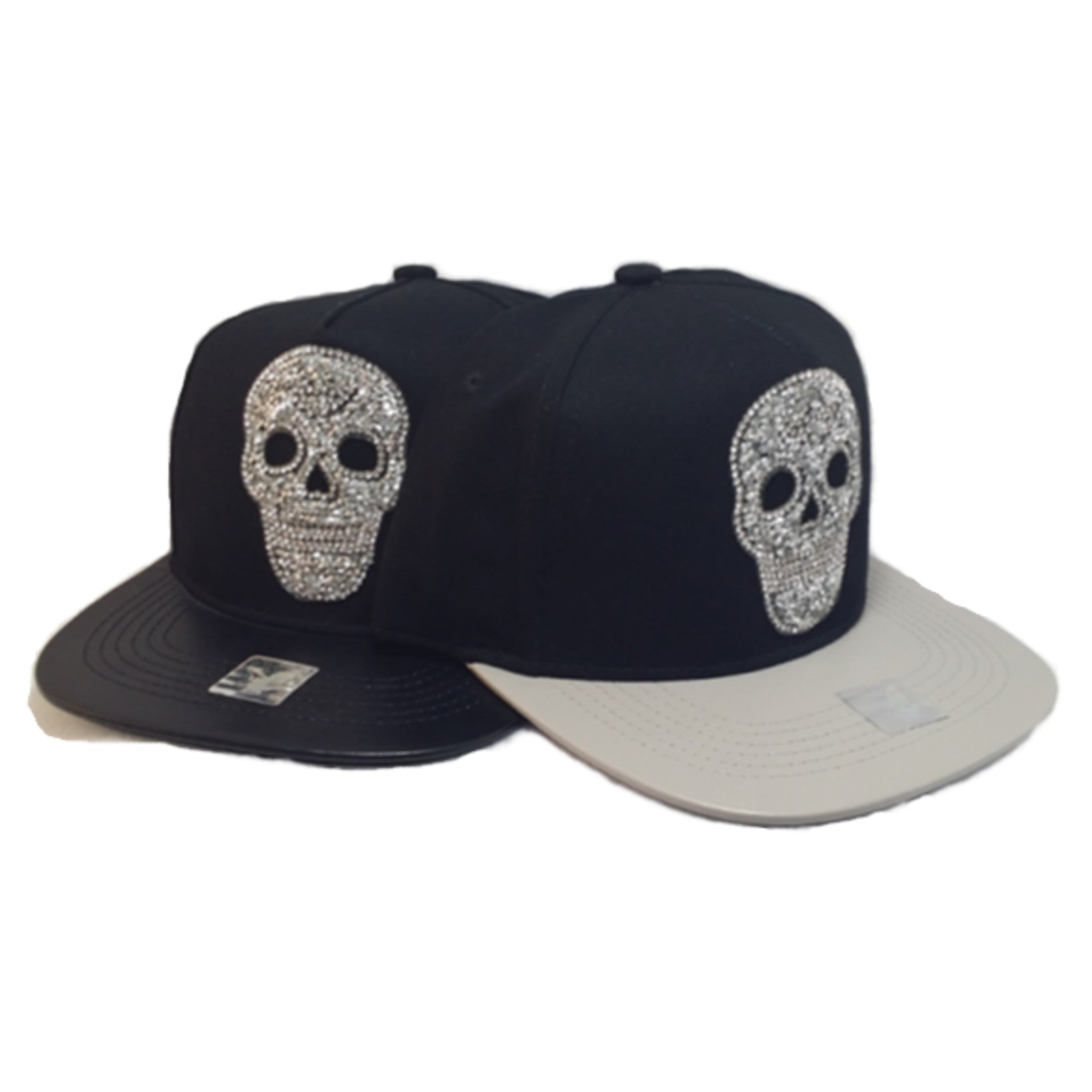 Rhinestone Skull Hat With Faux Leather Brim - Metalhead Art & Design, LLC