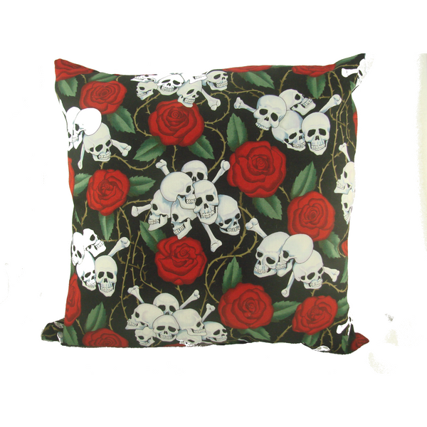 Skulls and Roses Throw Pillow - Metalhead Art & Design, LLC