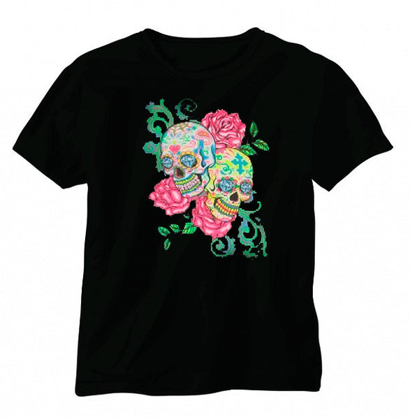 Sugar Skulls and Roses Short Sleeve T-shirt - Metalhead Art & Design, LLC