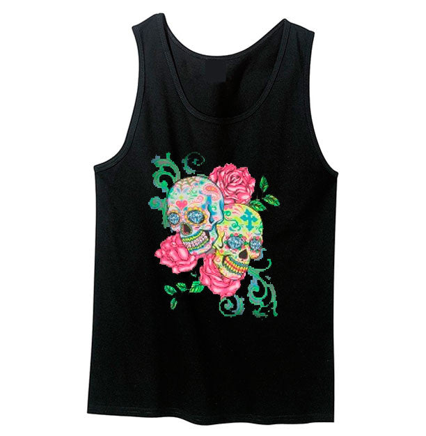 Sugar Skulls and Roses Tank Top - Metalhead Art & Design, LLC
