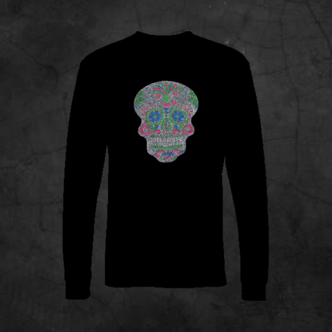 SUGAR SKULL BLING - LONG SLEEVE - Metalhead Art & Design, LLC