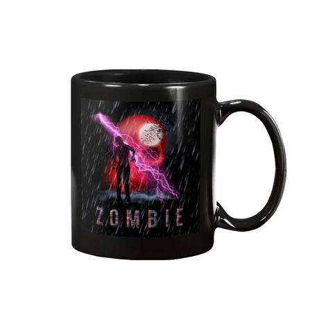 ZOMBIE SKULL WITH LIGHTENING MUG - Metalhead Art & Design, LLC