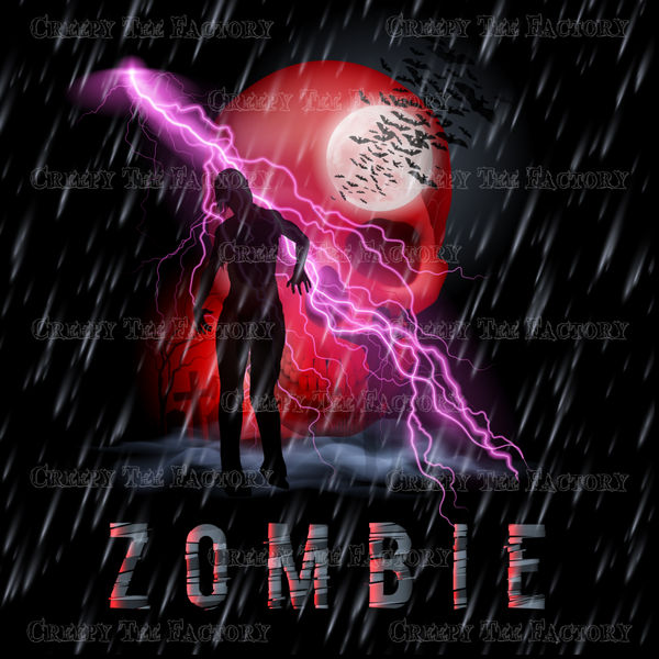 ZOMBIE SKULL AND LIGHTENING - Metalhead Art & Design, LLC