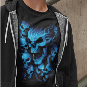 FLAMING BLUE SKULLS
