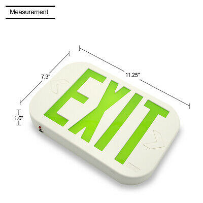 LED Emergency Exit Light Fixture Battery Backup white plate w/Green letters/EM-AC ONLY