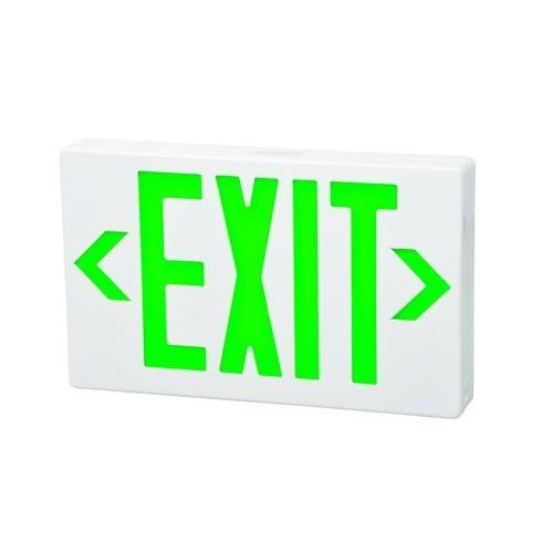 LED Emergency Exit Light Fixture Battery Backup white plate w/Green letters/EM-