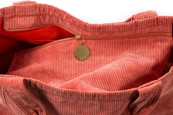 Rennie Tote in Red Corduroy - Interior