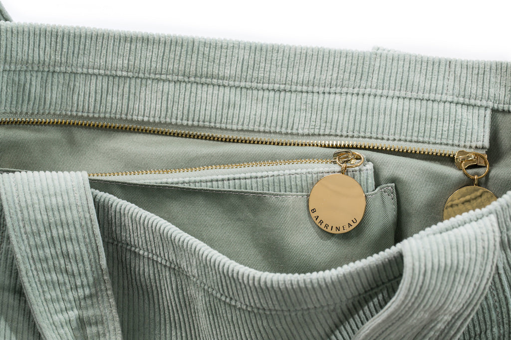 Rennie Tote in Green Corduroy - Interior