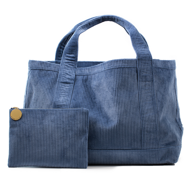 Rennie Tote and Clutch in Blue Corduroy