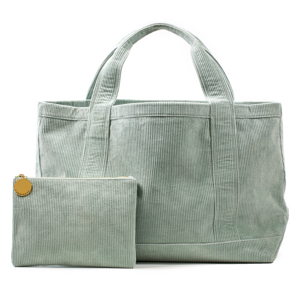 Rennie Tote and Clutch in Green Corduroy