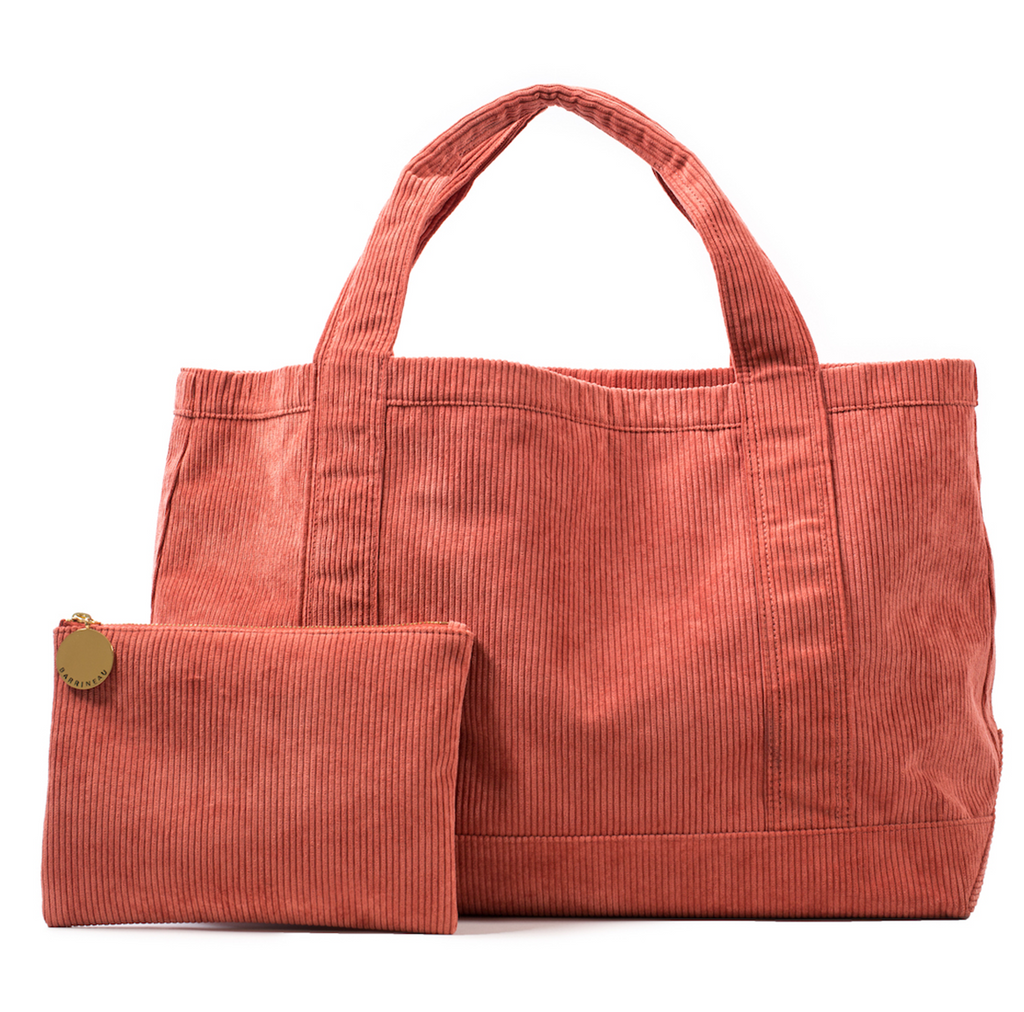 Rennie Tote and Clutch in Red Corduroy