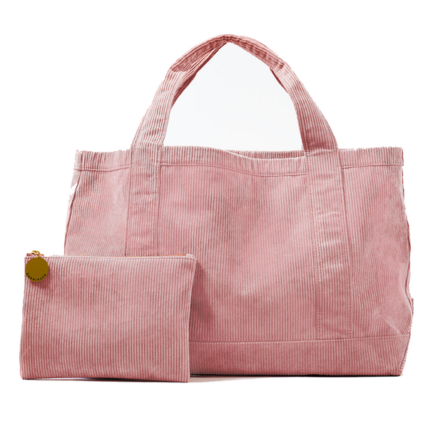 Rennie Tote and Clutch in Pink Corduroy