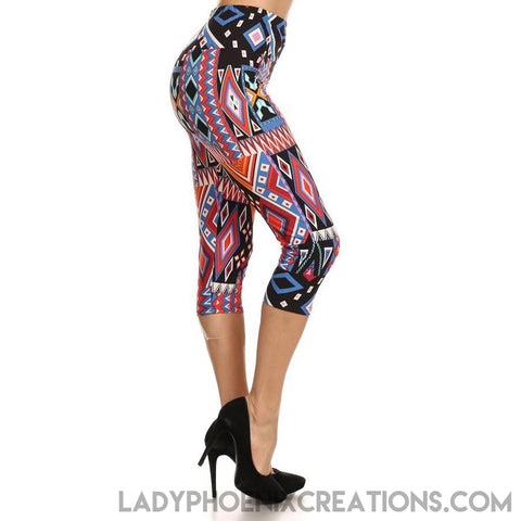Multi Aztec Bright capris - Lady Phoenix Creations