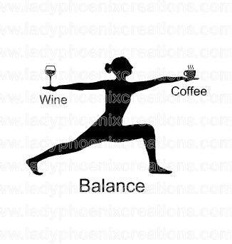 Sublimation Transfer Wine Coffee Yoga Balance