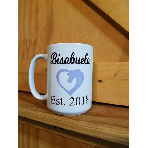 Coffee Mug Dye Sublimated - Bisabuelo est 2018 - Lady Phoenix Creations