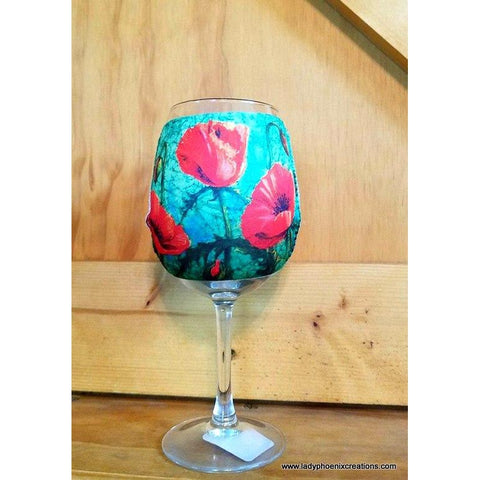 Poppy Wine Glass Koozie - Lady Phoenix Creations
