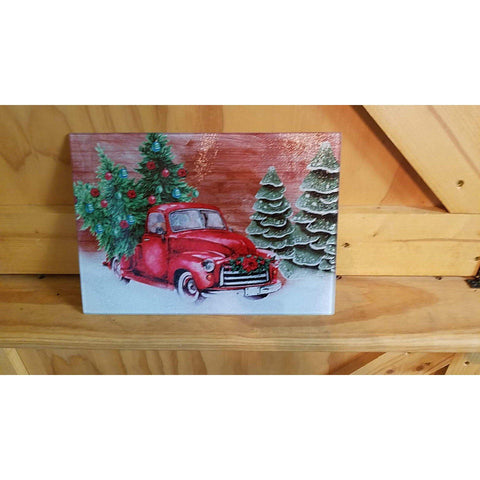 Glass Cutting Board - Christmas Truck - Lady Phoenix Creations