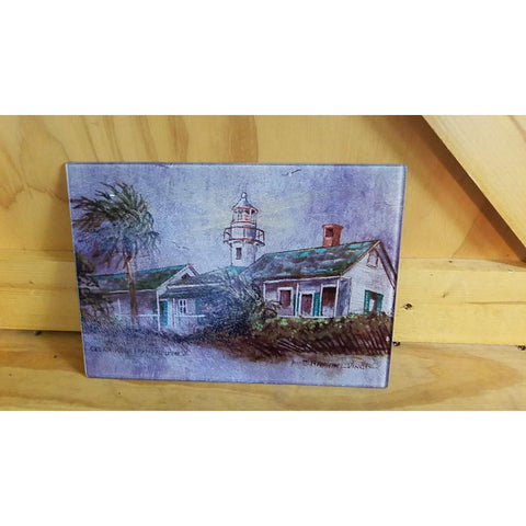 Glass Cutting Board - Cedar Key Lighthouse by Raphael Vinci - Lady Phoenix Creations