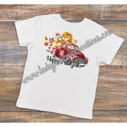 Happy Fall Yall Red Truck - Dye Sublimated shirt - Lady Phoenix Creations