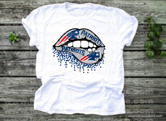 New England Patriot Lips Football Dye Sublimated shirts - Lady Phoenix Creations