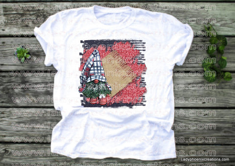 Plaid hat gnome with background Dye Sublimated shirts - Lady Phoenix Creations