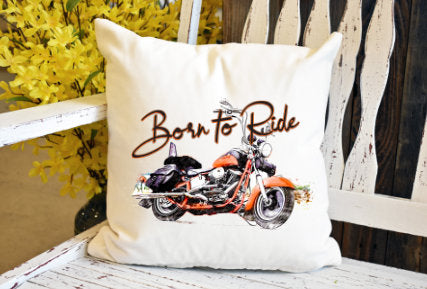 Born to ride orange harley Pillow Cover - dye sublimation - Lady Phoenix Creations