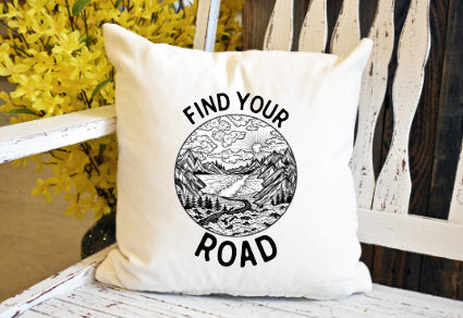 Find your road Pillow Cover - dye sublimation - Lady Phoenix Creations