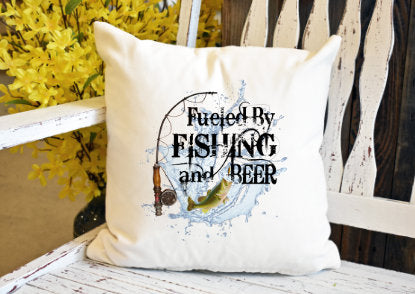 Fueled by fishing and beer Pillow Cover - dye sublimation - Lady Phoenix Creations