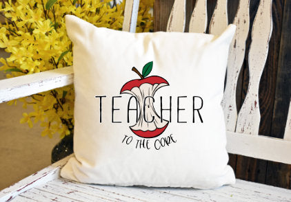 Teacher to the core apple Pillow Cover - dye sublimation - Lady Phoenix Creations