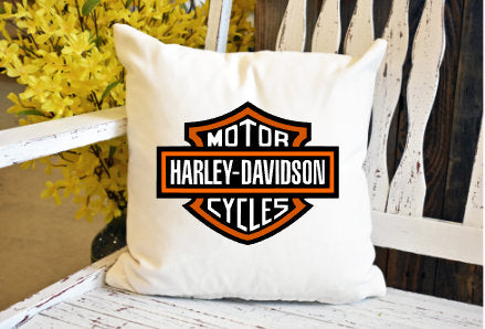 Harley shield Pillow Cover - dye sublimation - Lady Phoenix Creations