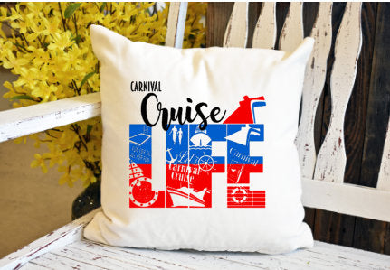 Cruise life carnival Pillow Cover - dye sublimation - Lady Phoenix Creations