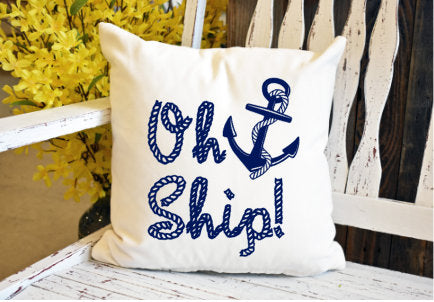 Oh ship anchor rope Pillow Cover - dye sublimation - Lady Phoenix Creations