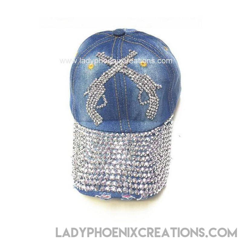 Denim Cross Guns Rhinestone Hat - Lady Phoenix Creations