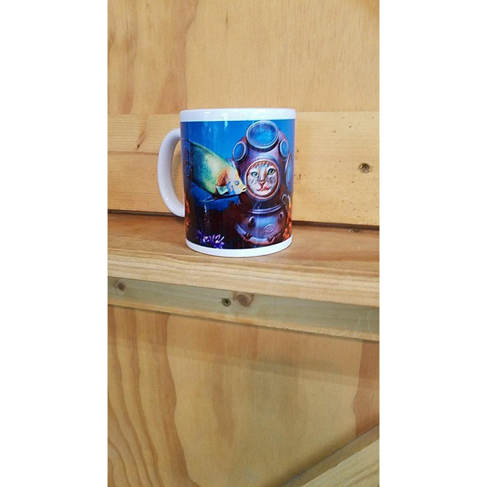 Gracie goes diving Coffee Mug - Lady Phoenix Creations