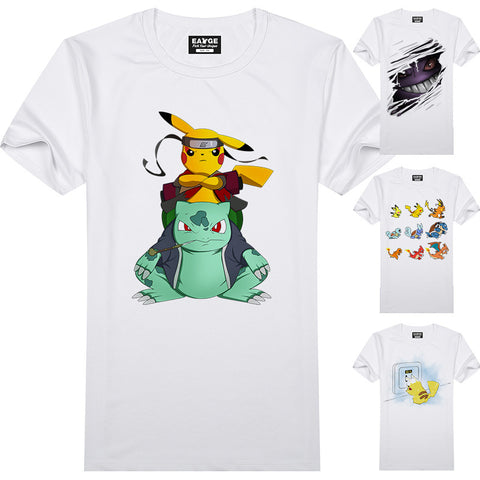 a54f56ae0 ... New Design Pokemon T-Shirts/ Short Sleeve Anime White Printed T-Shirt  Pikachu ...