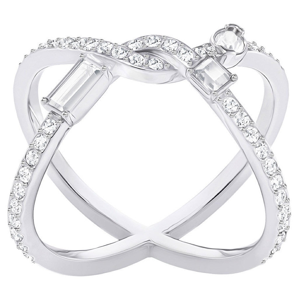 Bague Swarovski Henrietta Cross Ring, White, Rhodium
