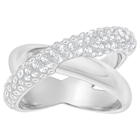Bague Swarovski Crystaldust Cross, White, Palladium
